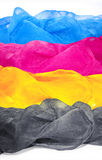 Aerial silk scarves in colors cmyk. Background for banner, card, Stock Image