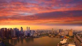 Aerial Singapore skyline, city panorama, sunset Royalty Free Stock Image
