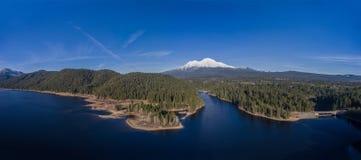 Aerial - Siskiyou Lake and Mount Shasta, California Stock Photography