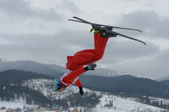 Aerial skiing Royalty Free Stock Image
