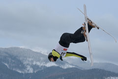 Aerial skiing Royalty Free Stock Photography