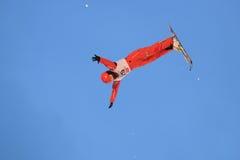 Aerial skiing Stock Photos