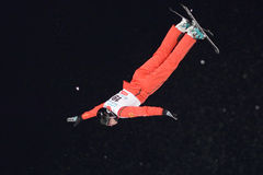 Aerial skiing Stock Photos