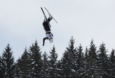 Aerial skiing Royalty Free Stock Photo