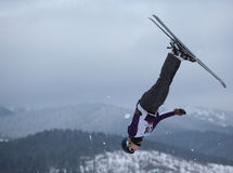 Aerial skiing Stock Photo
