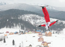 Aerial skiing Royalty Free Stock Images