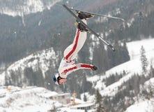 Aerial skiing Royalty Free Stock Image