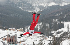 Aerial skiing Stock Image