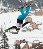 Aerial skiing Stock Images
