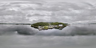 Aerial skyline of the beautiful historic harbour village of Crinan. Argyll, Scotland Royalty Free Stock Images