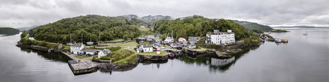 Aerial skyline of the beautiful historic harbour village of Crinan. Argyll, Scotland Royalty Free Stock Photo