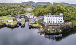Aerial skyline of the beautiful historic harbour village of Crinan. Argyll, Scotland stock photos