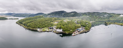 Aerial skyline of the beautiful historic harbour village of Crinan. Argyll, Scotland Royalty Free Stock Photography