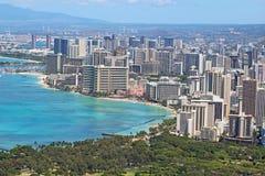 Aerial skyline of Honolulu including Waikiki Beach Royalty Free Stock Images
