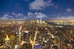 Aerial of skyline of New York by night royalty free stock image