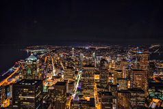 Aerial skyline at night  Stock Image
