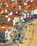 Aerial Skyline town Nazare, Portugal royalty free stock images