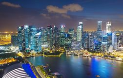 Aerial skyline of Singapore Downtown stock photography