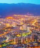 Aerial skyline Tehran twilight. Iran stock photo