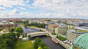 Aerial skyline view of Berlin city and Spree River, Germany stock video footage