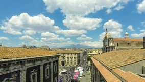 Aerial skyline view of Catania old town, Sicily, Italy. Catania, Italy - May 7, 2018: Aerial skyline view of Catania old town, Sicily, Italy. View to Piazza del stock video