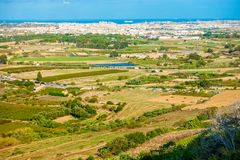 Aerial skyline view of Malta from Mdina Royalty Free Stock Photography