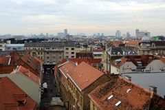 Zagreb Downtown Aerial Skyline View royalty free stock photo