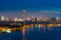 Aerial skyline view of West Lake in Hanoi, Vietnam.  stock photo