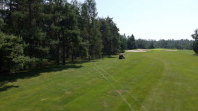 AERIAL, slow motion: Buggy driving from the rough area of the course next to the trees stock video footage