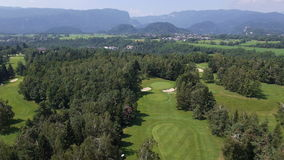 AERIAL, slow motion: Forest golf resort stock video