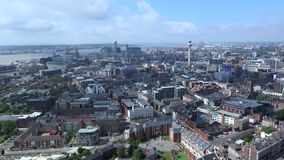Aerial slow panning shot of Liverpool. Aerial panning shot of Liverpool city center stock video footage