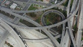 AERIAL: Slowly Circling over Judge Pregerson Huge Highway Connection showing multiple Roads, Bridges, Viaducts with