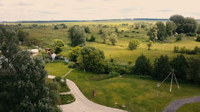 Aerial small rural country side. Flight over rural country homes stock video