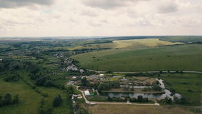 Aerial small rural country side. Flight over rural country homes stock footage
