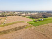 Aerial of the Small Town surrounded by farmland in Shrewsbury, P. Ennsylvania royalty free stock photos
