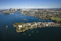 Aerial of Snails Bay, Australia. stock images