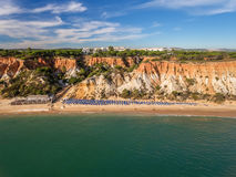 Aerial. Snapshot from the sky, beach Pine Falesia Albufeira. Royalty Free Stock Photos