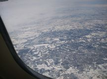 Aerial Snow. Beautiful view from the airplane of Vancouver being covered in snow Royalty Free Stock Photography