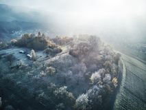 Aerial Snow Covered Trees Drone Footage Landscape Winter Nature Beautiful Europe Forest Mountain Travel White Famous. Idyllic Tourism fog Royalty Free Stock Photography