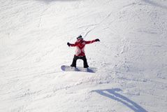 Aerial of snowboarder on Mt. Washington, BC, Canada stock photography