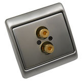 Aerial socket outlets. For TV, home theater and professional audio stock photos