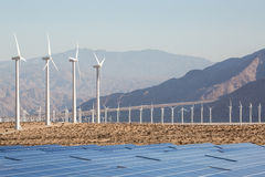 Aerial Solar Farm and Turbines in California Desert Royalty Free Stock Images