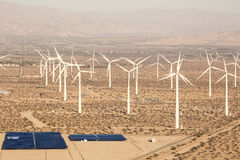 Aerial Solar Farm and Turbines in California Desert Stock Images