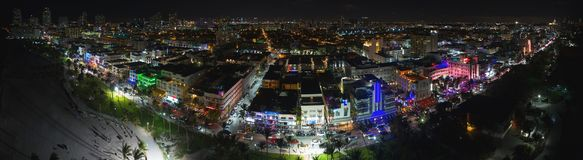 Aerial night panorama Miami Beach Ocean Drive Royalty Free Stock Photography