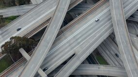 AERIAL: Spectacular Fly over Judge Pregerson Highway showing multiple Roads, Bridges, Viaducts with little car traffic