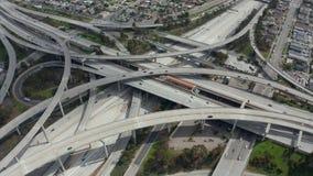 AERIAL: Spectacular Judge Pregerson Interchange showing multiple Roads, Bridges, Highway with little car traffic in Los