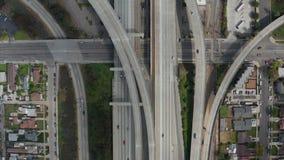 AERIAL: Spectacular Overhead follow Shot of Judge Pregerson Interchange showing multiple Roads, Bridges, Highway with