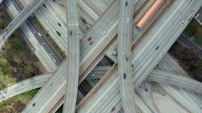 AERIAL: Spectacular Overhead Shot of Judge Pregerson Interchange showing multiple Roads, Bridges, Highway with little