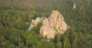 Tustan fortress - archaeological and natural monument of national significance, popular tourist landmark. Urych, Carpathian Mounta. Aerial spectacular view to stock video