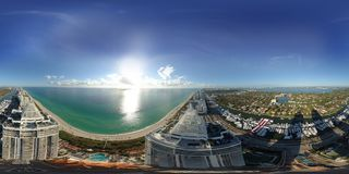 Aerial spherical 360 image Blue and Green Diamond Miami Beach In Stock Image